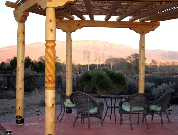 View of Mountains through gazebo