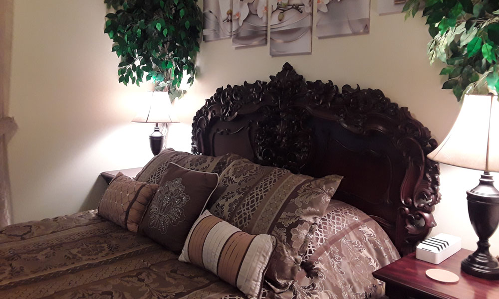 ornate bed with pillows