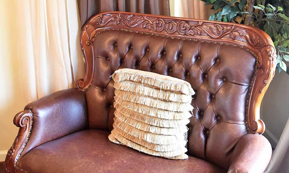 leather chair with pillow