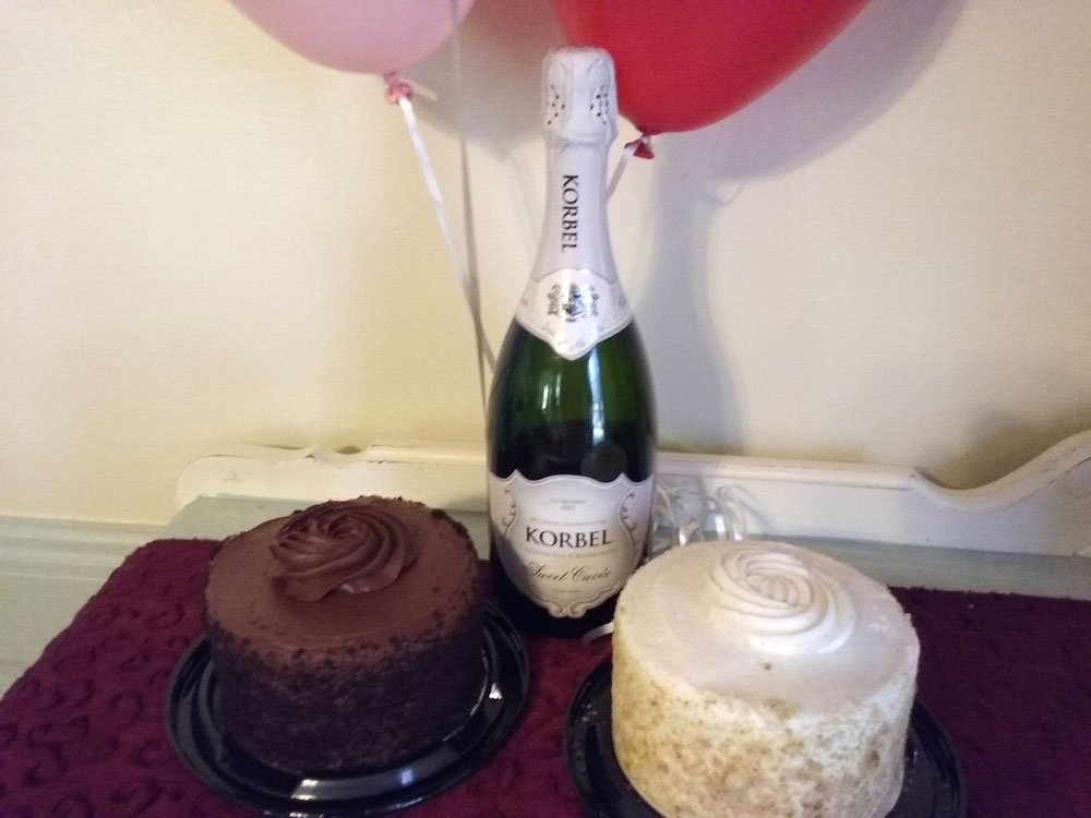 Champagne with cake and balloons