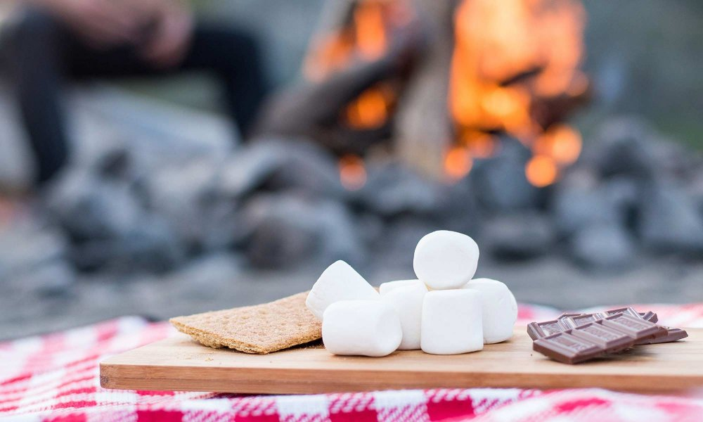 smores in front of a fire