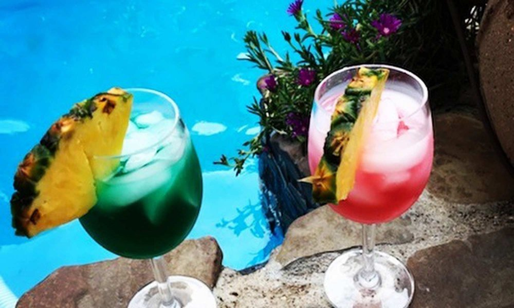fruity drinks by the pool