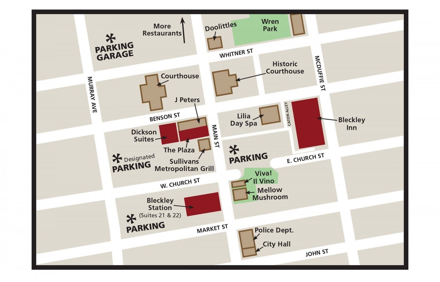 Map of Bleckley Inn Building Locations