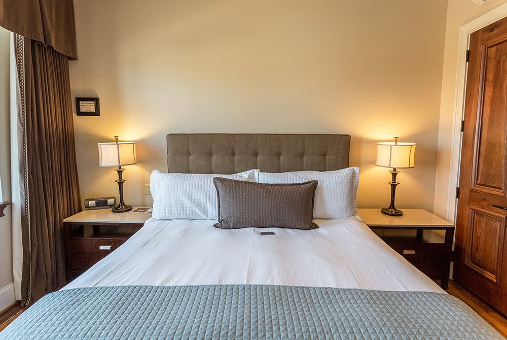 Lamps on each side of bed in bedroom