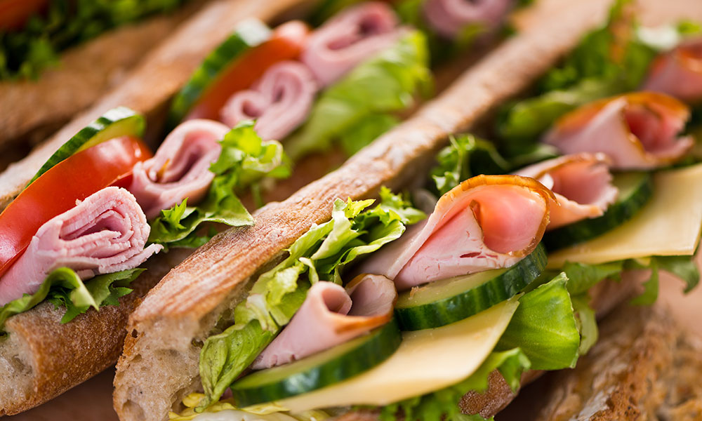 Sandwiches with vegetables and meat