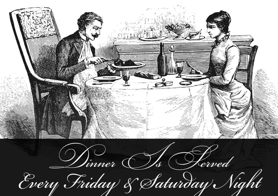 victorian hand-drawn couple at table for tea