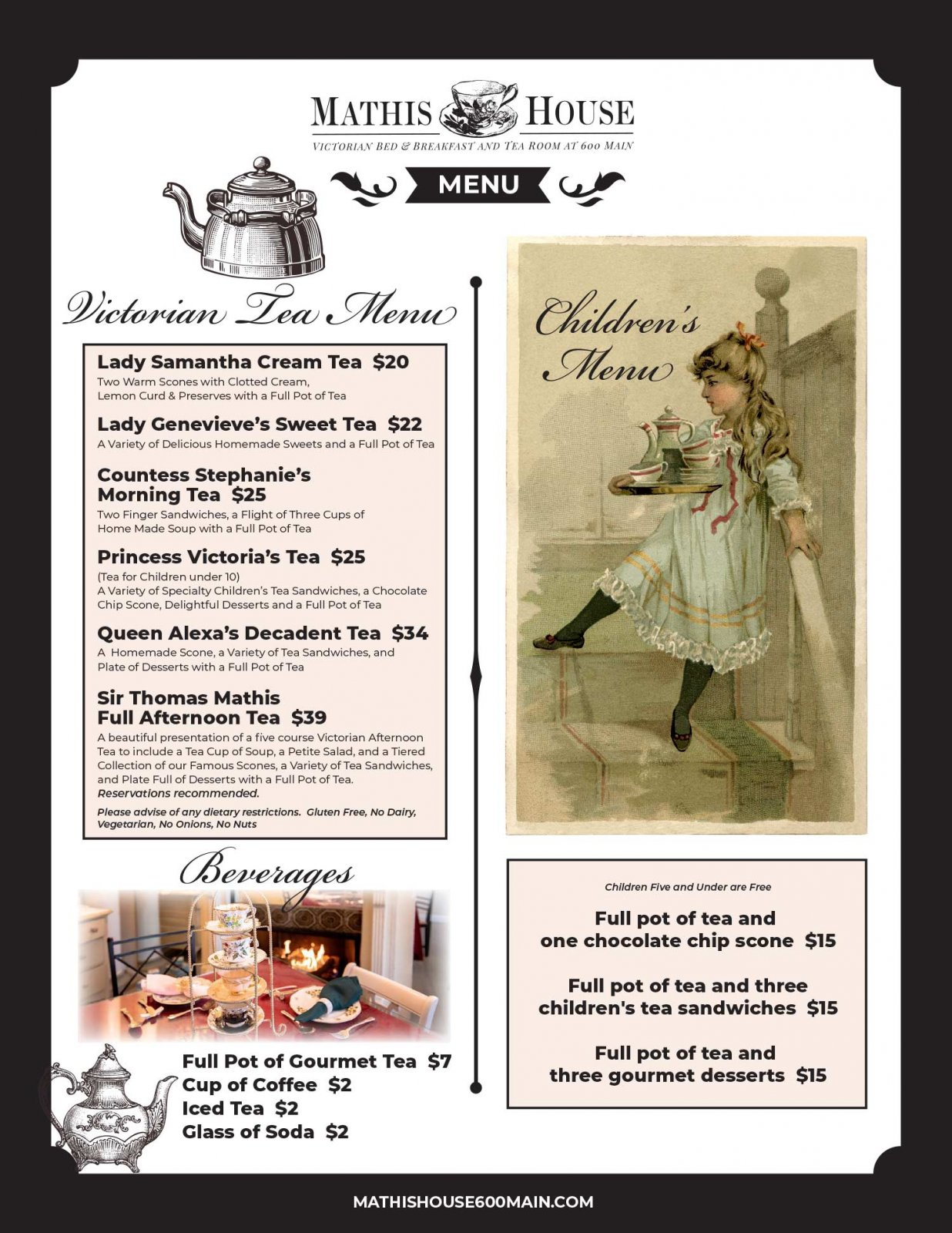 Mathis House Victorian Tea Menu