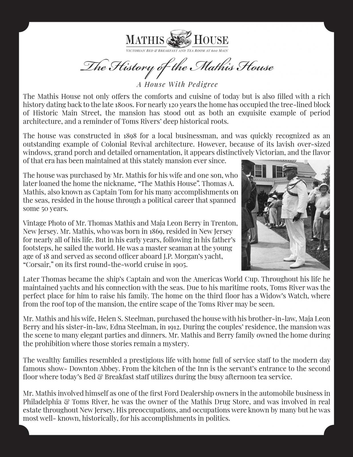 The History of the Mathis House, A House With Pedigree