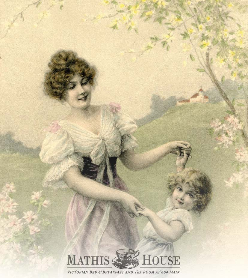 victorian woman dancing with child