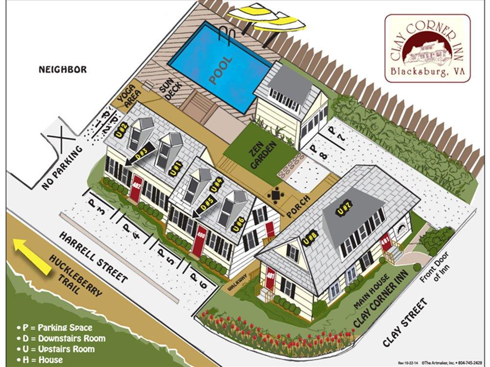 Map of Clay Corner Inn buildings layout