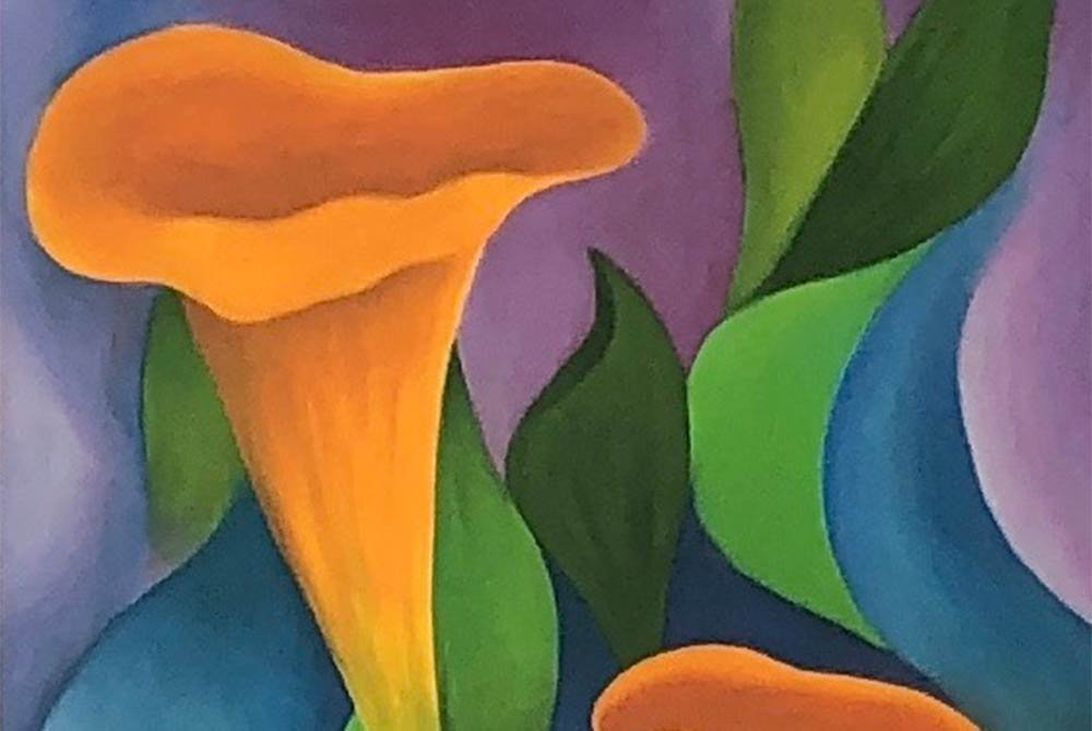 painting of a flower and leaves