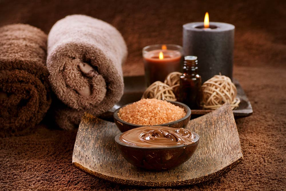 towels and mud facial materials with candles