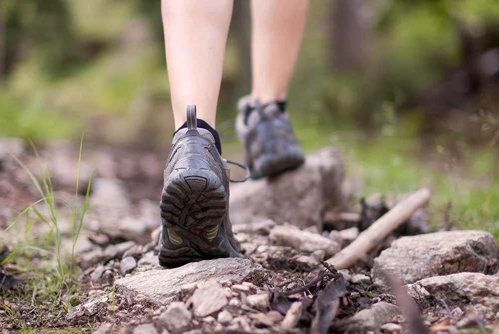 hiking boots on a trail