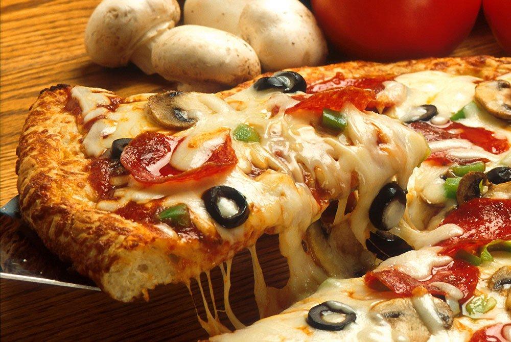 Slice of combination pizza